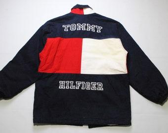 vintage TOMMY HILFIGER big logo Jacket Size L/XL men's red/white/blue