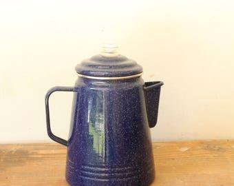 Rustic Enamel Coffee Pot Enamelware Tea Kettle Granite Ware Blue