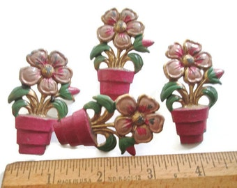 Vintage Brass Curtain Pins Enameled Flower Pots 1950s Set of Four Drapery Holders