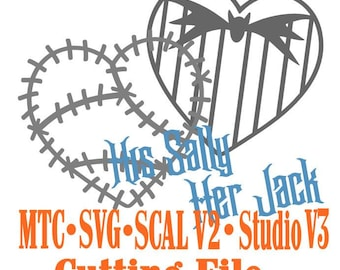SVG Cut File Jack & Sally Valentine Heart Set #05 Haunted Mansion Wedding Anniversary Cut Files MTC SvG SCAL and more File Format