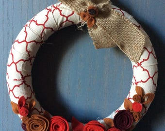 Fall-inspired wreath with handmade felt flowers