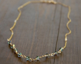Shimmering Blue Swarovski Crystal Beads Wire Wrapped into a 14k Gold Fill Chain - Sparkling Blue and Gold Necklace