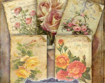 10 Shabby Rose Tags Set 2