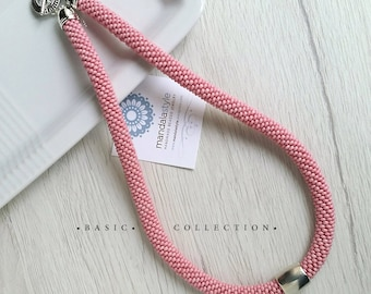 Pink tubular seed beads necklace