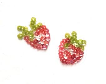 Mini Strawberry Pair Sequin Applique Patch
