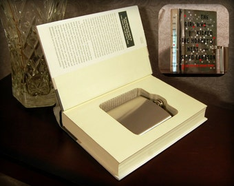 Hollow Book Safe with Flask - The Girl Who Kicked the Hornet's Nest - Secret Book Safe