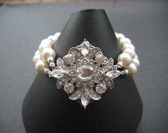 Ava Collection, Bridal Bracelet, Victorian Art Deco Rhinestone Bracelet, Vintage Style Bridal Jewelry, Weddng Jewelry