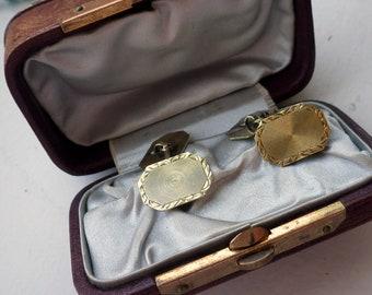 Victorian 14k Solid Gold Cufflinks - Yellow Gold - 6 Grams.