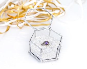 Beveled Glass Box / Engagement Box / Wedding Ring Holder / Glass Jewelry Box / Clear Jewelry Storage /  Decorative Geo Box / Keepsake Box