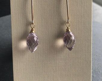 Pale Pink Amethyst faceted dangles, 14 karat gold fill long ear wires, Bridal elegance