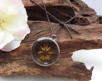 Unique Resin Pendant Necklace - with Natural Dried Crepe Myrtle Pod - Round Antique Silver Setting