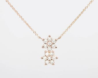 14k Rose Gold Diamond Necklace/14k Gold Women's Necklace/Simple Dainty Necklace/0.36 CT. High Quality Diamond Necklace