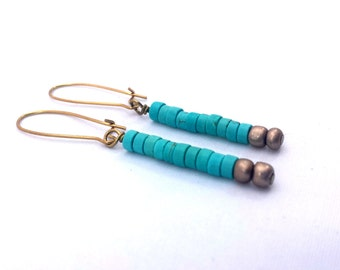 Turquoise Earrings, Minimalist Earrings, Handmade Earrings, Beaded Jewelry, Dangle Earrings, Drop Earrings, Turquoise and Gold Earrings