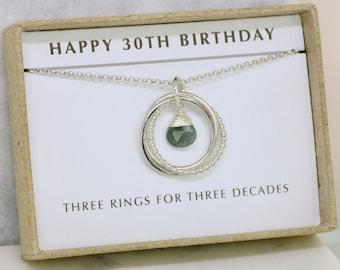 30th birthday gift, March birthstone necklace, aquamarine necklace, March birthday jewelry, 30th gift for her - Lilia