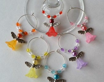 Angel wine charms with acrylic beads and accents