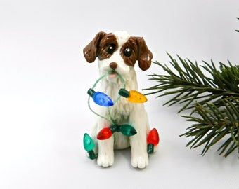 Brittany Dog Porcelain Christmas Ornament Figurine with Lights OOAK