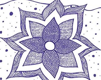 5x7 greeting card - purple flower