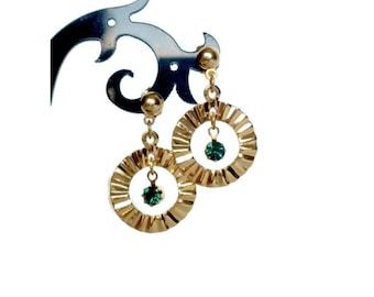 Dangle Earrings With Green Rhinestones For Pierced Ears Signed Avon