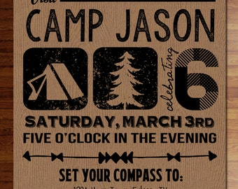 Custom digital or printed invitation + FREE SHIPPING! Camping Birthday invitations, embossed wood paper, shower, party