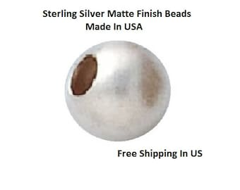 5 MM   Pkg. Of 12  Sterling Silver Matte Finish  Round beads    5305S