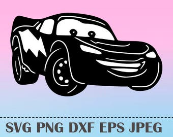 SVG Lightning McQueen Vector Layered Cut File Silhouette Cameo Cricut Design Template Stencil Vinyl Decal Tshirt Heat Transfer Iron on