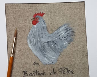 Acrylic painting of Beijing Bantam Rooster on natural linen