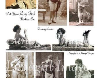 Put Your BIG GIRL PANTIES On digital collage sheet vintage photos images flappers girls women stockings risque French postcards art Download