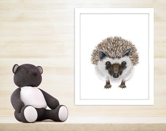 Fine Art Print, Baby Hedgehog Art, Woodland Nursery, Hedgehog Print, Baby Art, Watercolor, Woodland, Art Print, Gray, Brown 8.5x11