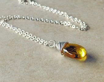 Honey Quartz Necklace Wire Wrapped On A Sterling Silver Chain