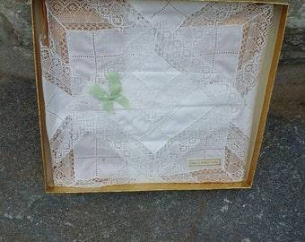 Three Boxed Vintage Lace Handkerchiefs