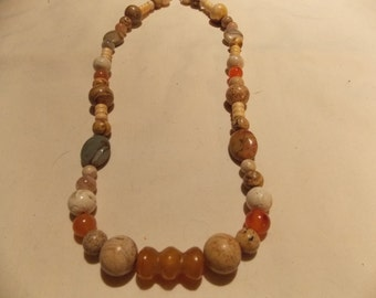 Hand made one of a kind Necklace W/ Agate