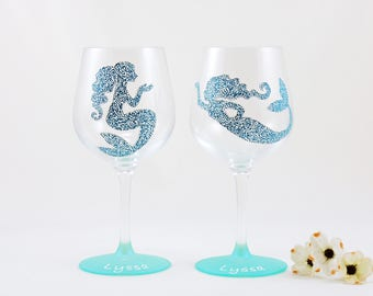 Personalized mermaid wine glasses - Set of 2 hand painted stemmed glasses - Sea Glass Collection