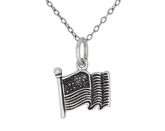 ON SALE Sterling Silver .925 USA Flag Charm Pendant Necklace Oxidized   Made in Usa