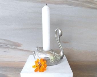 Vintage swan candlestick,Silver plate candle holder,