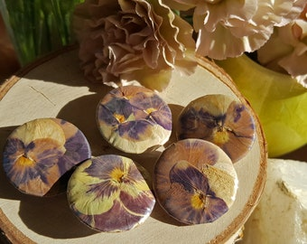 "1"" Pressed Botanical Buttons, Set of 5"