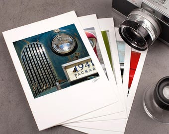 """Photo Note Card Set - 5""""x7"""" - Vintage Cars II. Urban photography, rusty details, automobile, greeting card."""