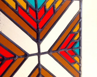 Geometric stained glass suncatcher panel