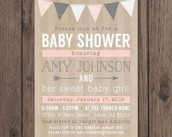 RUSTIC BABY SHOWER Invitation - Baby Girl Shower Invitation - Pink and Gray - Rustic Chic