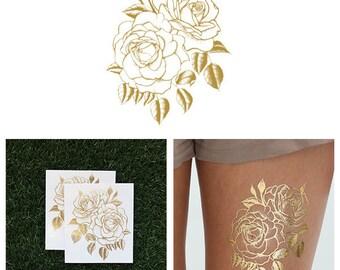 Twin Rose - Metallic Gold Rose Flower Temporary Tattoo (Set of 2)