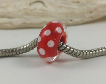 Lampwork Big Hole Bead - Lampwork Charm - Glass Charm for Bracelets- Red with White Polka Dots