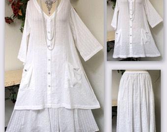 Designer Textured Soft Cotton lagenlook Oversize 2 PC Plus Size Skirt Set.