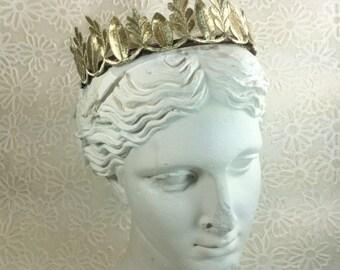 Gold Leaf Crown, grecian crown headband, gold headband women, gold embroidery, gold leaf headpiece, gold leaf bridal headband, go