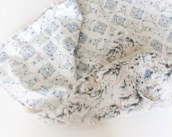 BOHO Baby Blanket -LOVEY Stroller Blanket / Bohemian Blanket /Minky Blanket /Baby Boy Nursery Blanket Fur /READY to Ship Gift Boy