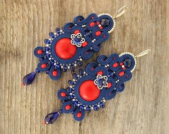 Long royal blue soutache earrings, red blue earrings, dangle soutache earrings, long soutache earrings, soutache jewelry