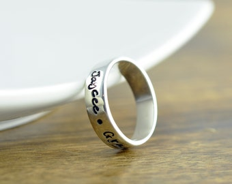 Personalized Ring - mom ring - sterling silver ring - hand stamped ring - inspiration ring - Name Ring - Gifts for Mom