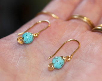 Tiny Turquoise Dangle Earrings, Organic Jewelry, Brass, Silver, 14k Gold Filled Earrings, Turquoise Earrings, Gifts for Her