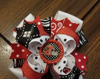 """5""""  Bulldog Boutique Bow, Red Hairbow, White Hairbow"""