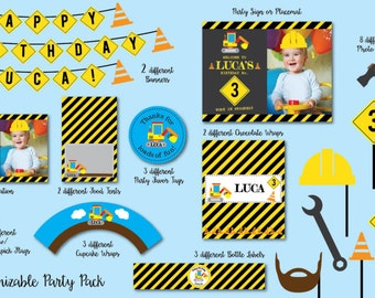 Construction Birthday Party, Printable Party Pack, Birthday Party Invitation, Dump Truck Party, Party Pack free invitation included