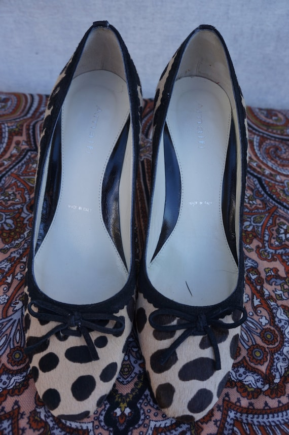 Italy Designer Leather Fur Amalfi Shoes 80s High Print Vng 5 Pony Animal Fur Vng Italian Heels Cheetah Stilettos Designer 7 Sz Fur 5qxt1fXwR