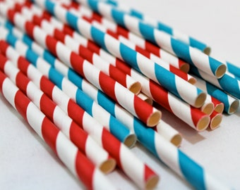 24 red and turquoise turqouse circus carnival striped vintage birthday party baby shower paper straws striped decor decorations